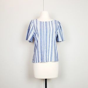 CAbi Blue White Stripe Wing Top Style 5343